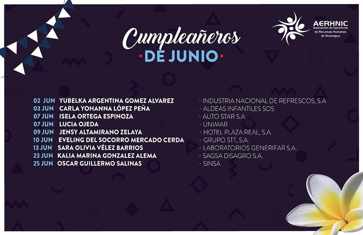Cumpleañeros Junio 2018